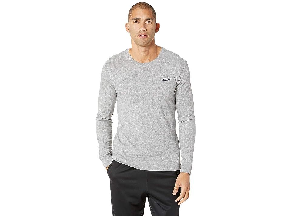 Nike NSW Tee Long Sleeve Embroided Futura (Dark Grey Heather/White/Obsidian) Men