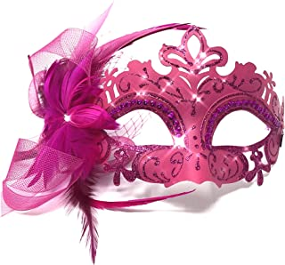 ] Lady/Women/Girls Costume Mask Feather Masquerade Mask Halloween Mardi Gras Cosplay Party