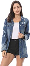 COSYOU Women's Denim Jacket Ripped Distressed Casual Long Sleeve Plus Size Coat