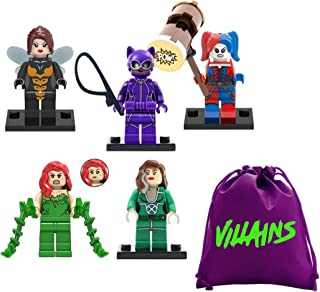 fat cat sales Superhero / Super Villain Girls - Mini Building Block Action Figures - Comes in Nylon Bag for Quick CLEANUP - Try EXCHANGING Interlocking Block Pieces Around for New Looks