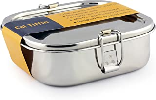 Cal Tiffin Stainless Steel SQUARE Bento Lunchbox 25 oz, 2-compartment - Eco friendly, Dishwasher Safe, BPA free