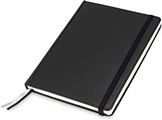 Samsill Large Size Writing Notebook, Hardbound Cover, 7.5 Inch x 10 Inch, 120 Ruled Sheets (240 Pages), Black