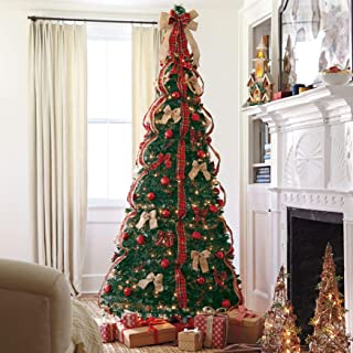 BrylaneHome Fully Decorated Pre-Lit 7 1/2' Pop-Up Christmas Tree - Plaid
