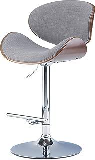 Simpli Home Marana Mid Century Modern Bentwood Adjustable Height Gas Lift Bar Stool in Grey Linen Look Fabric