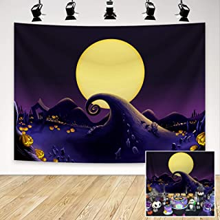 Demohome 8x6ft Nightmare Before Christmas Themed Backdrop for Halloween Pumpkin Jack Theme Birthday Baby Shower Photo Studio Photography Pictures Background Party Decor Decoration Shoot
