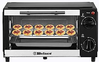 Belaco BTO-109N Mini four à grille-pain de 9 l portable de cuisson 750 W 100–230 ° Tube chauffant en acier inoxydable avec...