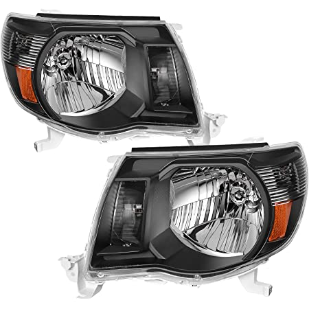 AUTOSAVER88 Headlight Assembly Compatible with 2005-2011 Toyota Tacoma Pickup Truck Headlight Assembly OE Style Replacement Black Housing Amber Reflector