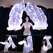 m·kvfa White Belly Dance Fans Veils Led Dance Fans Belly Dance Prop Stage Activities Tools for Women Girl Belly Dance Shows Annual Fancy-Dress Rave