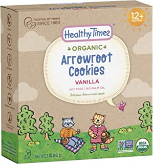 Healthy Times Organic Arrowroot Cookies for Kids, Vanilla | For Toddlers 12 Months and Older | Healthy Soy Free Snack | 5 oz Box, 1 Count