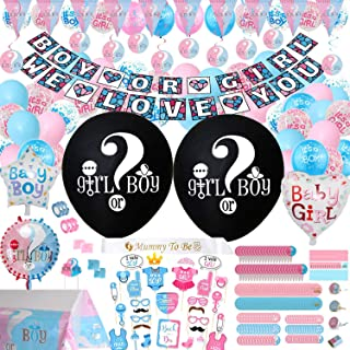 Gender Reveal Party Supplies & Decoration Set - (318 PCS) 36 Inch Reveal Balloon, Boy or Girl Banner, Mom Sash, Candy Stickers, Hanging Spiral Decorations, Photo Props, Foil Balloons and Boy Or Girl Balloons, Triangle Flag Banner, Team Girl & Boy Stickers, Tablecloth, Cake Topper Much More