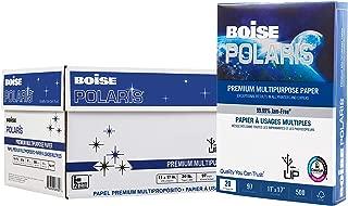 $61 » BOISE POLARIS Premium Multipurpose Paper, 11 x 17, 97 Bright White, 20 lb, 5 ream carton (2,500 Sheets)