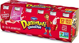 Dannon Danimals Smoothie Lowfat Dairy Drink Variety Pack, Strawberry Explosion & Wild Watermelon, 3.1 Ounce Drinks (Pack of 12)