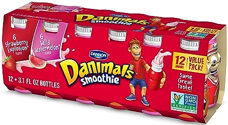 Dannon Danimals Smoothie Lowfat Dairy Drink Variety Pack, Strawberry Explosion & Wild Watermelon, 3.