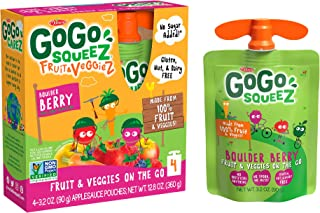 GoGo squeeZ fruit & veggieZ, Apple Carrot Mixed Berry, 3.2 Ounce (4 Pouches), Gluten Free, Vegan Friendly, Unsweetened, Re...