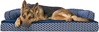 Furhaven Pet Dog Bed | Orthopedic Plush Faux Fur & Décor Comfy Couch Traditional Sofa-Style Living Room Couch Pet Bed w/ Removable Cover for Dogs & Cats, Diamond Blue, Jumbo
