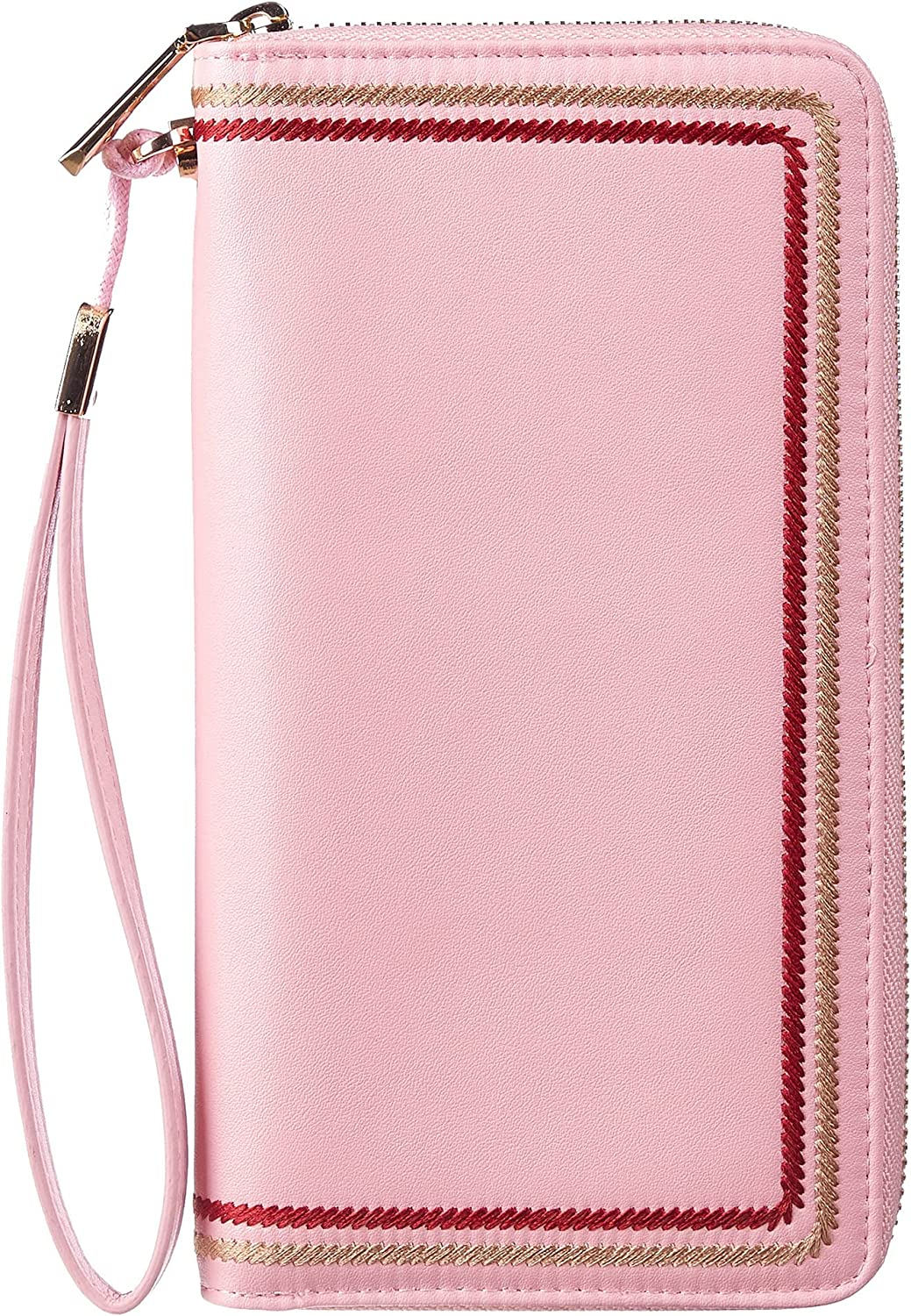 Gostwo Womens Large Capacity Wallet Genuine Leather RFID Blocking Purse Credit Card Zip Around Clutch Wristlet(Pink without logo)