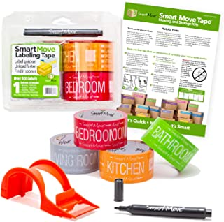 Uboxes Smart Move 1 Bedroom Labeling Tape, 4 Rolls of Color Coded Tape, Dispenser, Marker