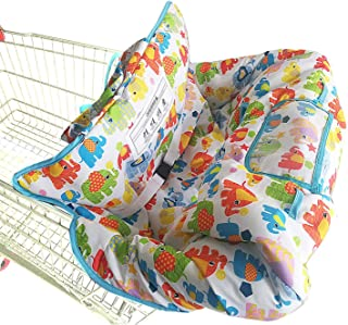Shopping Cart Cover for Baby- 2-in-1 - Foldable Portable Seat with Bag for Infant to Toddler - Compatible with Grocery Cart Seat and High Chair - Includes Free Carry Bag (White Elephant)