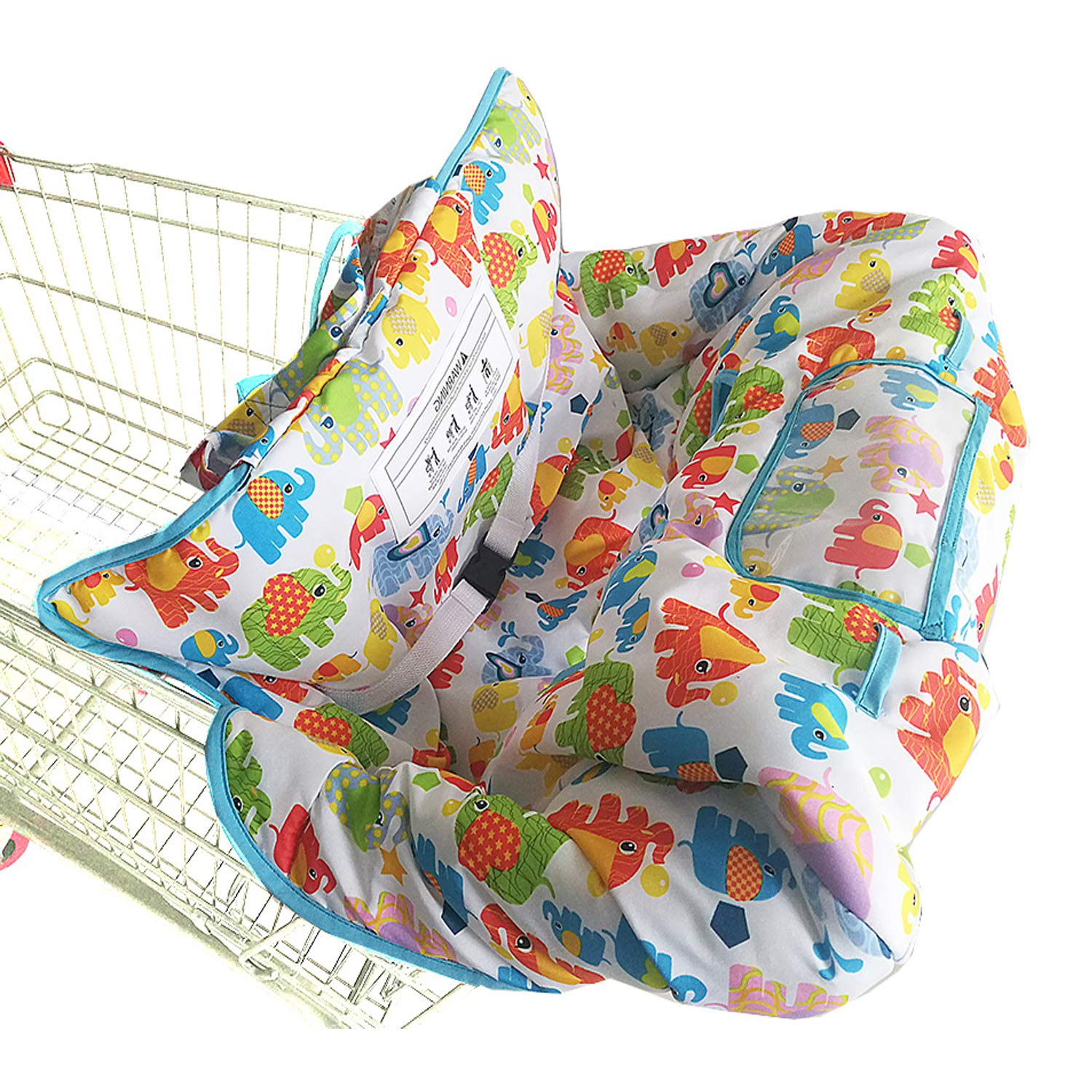 Shopping Cart Cover for Baby- 2-in-1 - Foldable Portable Seat with Bag for Infant to Toddler - Compatible with Grocery Cart Seat and High Chair - White Elephant Pattern