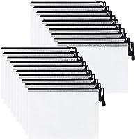 GTLZLZ 20PCS A5 Zipper Mesh Pouch, Waterproof Zipper File Bags Document Pouch Travel Bags for Office Supplies Cosmetics...