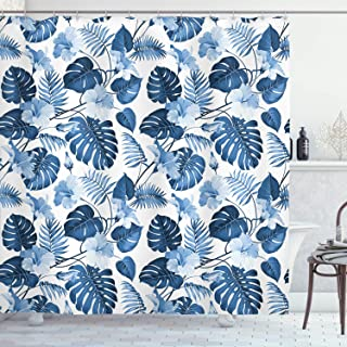 Ambesonne Leaf Shower Curtain, Palm and Mango Tree Branch and Hawaiian Hibiscus Flower Image, Fabric Bathroom Decor Set with Hooks, 75 Inches Long, Light Blue Turquoise and Dark Blue
