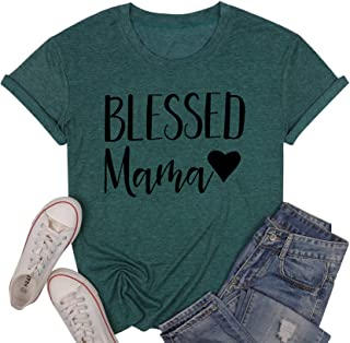 UNIQUEONE Women Letters Printed T-Shirt Blessed Mama Short Sleeve Casual Tops Tees