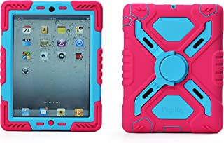 Pepkoo Ipad 2/3/4 Case Plastic Kid Proof Extreme Duty Dual Protective Back Cover with Kickstand and Sticker for Ipad 4/3/2 - Rainproof Sandproof Dust-proof Shockproof (Pink/blue)