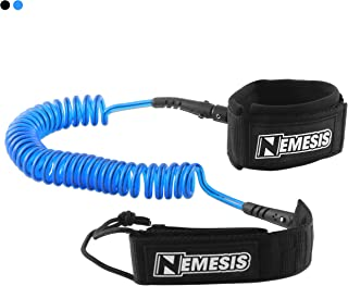 Own the Wave Super Premium 10' Coiled 'Nemesis' SUP Leash with Double Stainless Steel Swivels and Triple Rail Saver – Choose Black or Blue