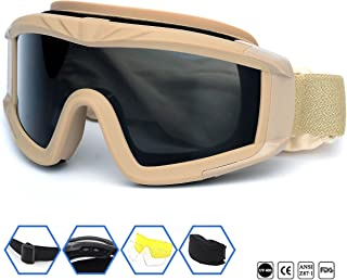 SPOSUNE Outdoor Sports Airsoft Tactical Goggles with 3 Lens UV400 Impact resistance ,..