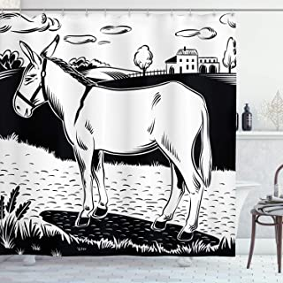 Ambesonne Donkey Shower Curtain, Donkey Standing on The Side of a Road in The Village Animals Farmlife Concept, Cloth Fabr...