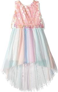 فستان بصدرية كبيرة ترتر مع تنورة من التول متعددة الألوان