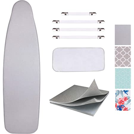 Amazon Com Sunkloof Silicone Coating Ironing Board Cover And Pad Resists Scorching And Staining Ironing Board Cover With Elasticized Edges And Pad 15 X54 4 Fasteners And 1 Large Protective Scorch Mesh Cloth Home