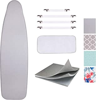 """Best SUNKLOOF Silicone Coating Ironing Board Cover and Pad Resists Scorching and StainingIroning Board Cover with Elasticized Edges and Pad 15""""x54"""" 4 Fasteners and 1 Large Protective Scorch Mesh Cloth Review"""