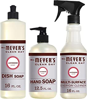 Mrs. Meyers Clean Day Kitchen Basics Set, Lavender Scent, Dish Soap (16 fl oz), Hand Soap (12.5 fl oz), Multi-Surface Everyday Cleaner (16 fl oz)
