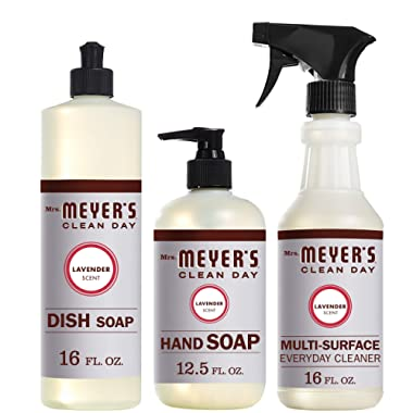Mrs. Meyer's Clean Day Kitchen Basics Set, Includes: Multi-Surface Cleaner, Hand Soap, Dish Soap, Lavender Scent, 3 Count Pack