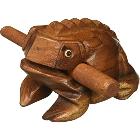"""Deluxe Large 4"""" Wood Frog Guiro Rasp - Percussion Musical Instrument Tone Block - by World Percussion USA"""
