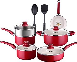 Lovepan 12 Piezas Batería de Cocina Roja Juego de Ollas y Sartenes Antiadherentes con Recubrimiento Cerámico