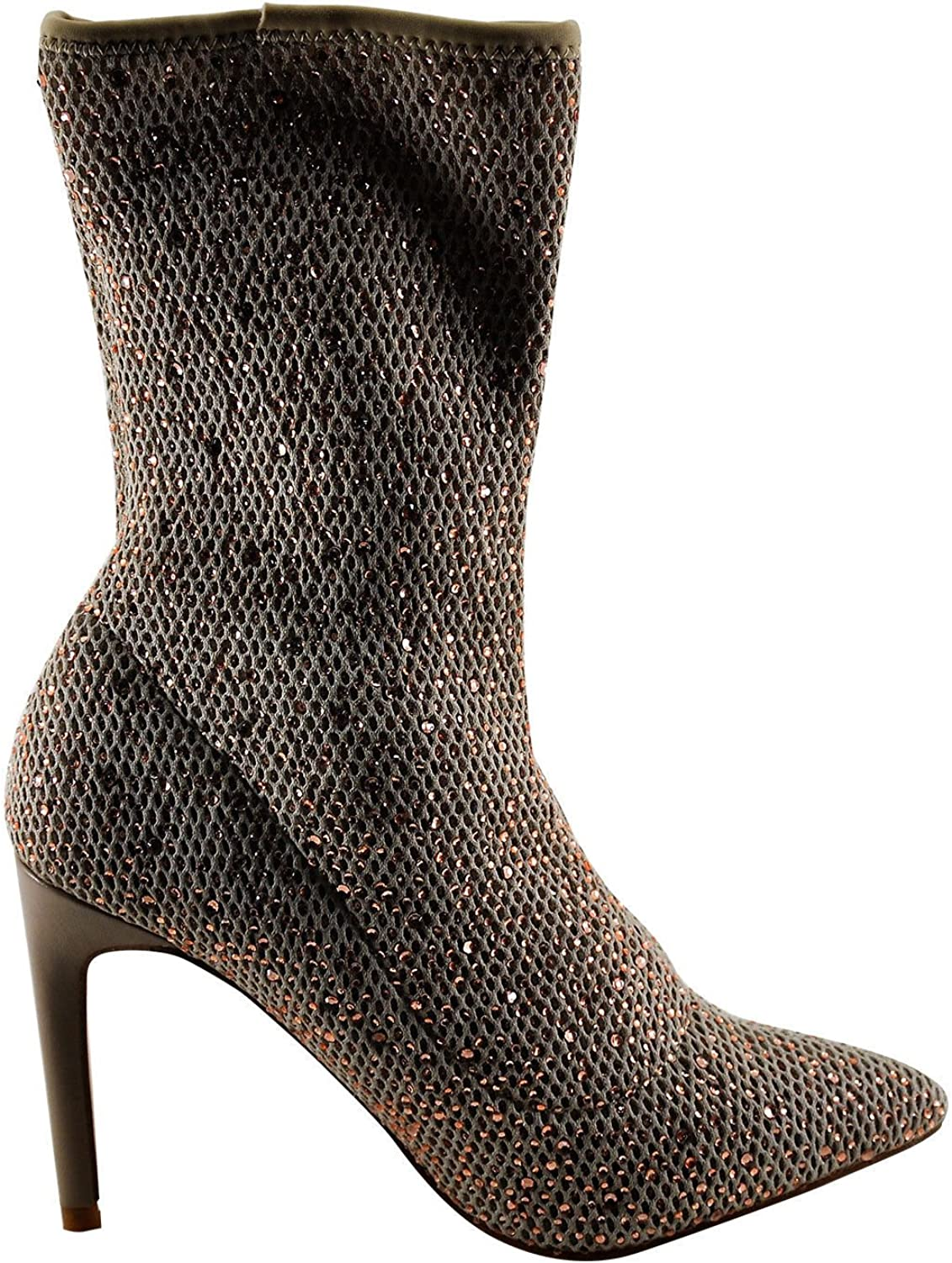 CAPE ROBBIN Tina 1 Women's Slouchy Metallic Netted Heeled Boot