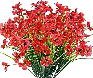 12 Bundles Artificial Flowers Outdoor UV Resistant Fake Flowers No Fade Faux Plants Garden Porch Window Box Decorating (De...