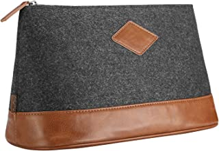 ProCase Large Felt Travel Toiletry Bag, Carrying Pouch Shaving Kit Case Portable Clutch Makeup Organizer Multifunctional S...