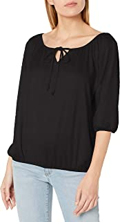 Women's 3/4 Sleeve Peasant Top with Keyhole Tie and Elastic Bottom Hem