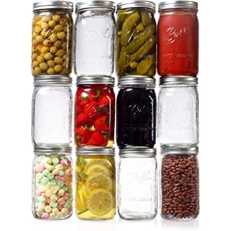 Ball Wide Mouth Mason Jars 32 oz. (12 Pack) - Quart Size Jars with Airtight Lids and Bands for Canning, Fermenting, Pickling, or DIY Decors and Projects - Bundled with Peaknip Jar Opener
