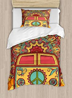 Twin XL Extra Long Bedding Set, 70s Party Duvet Cover Set, Hippie Vintage Mini Van Ornamental Backdrop with Peace Sign Artwork, Cosy House Collection 4 Piece Bedding Sets