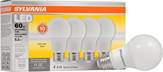 SYLVANIA General Lighting 73888 046135738883 SYLVANIA, 60W Equivalent, LED Light Bulb, A19 Lamp, 4 Pack, Soft White, Energy Saving & Longer Life, Medium Base, Efficient 8.5W, 2700K, 4