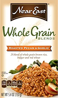 Near East Whole Grain Blends, Roasted Pecan & Garlic, with Brown Rice and Bulgur (Pack of 12 Boxes)
