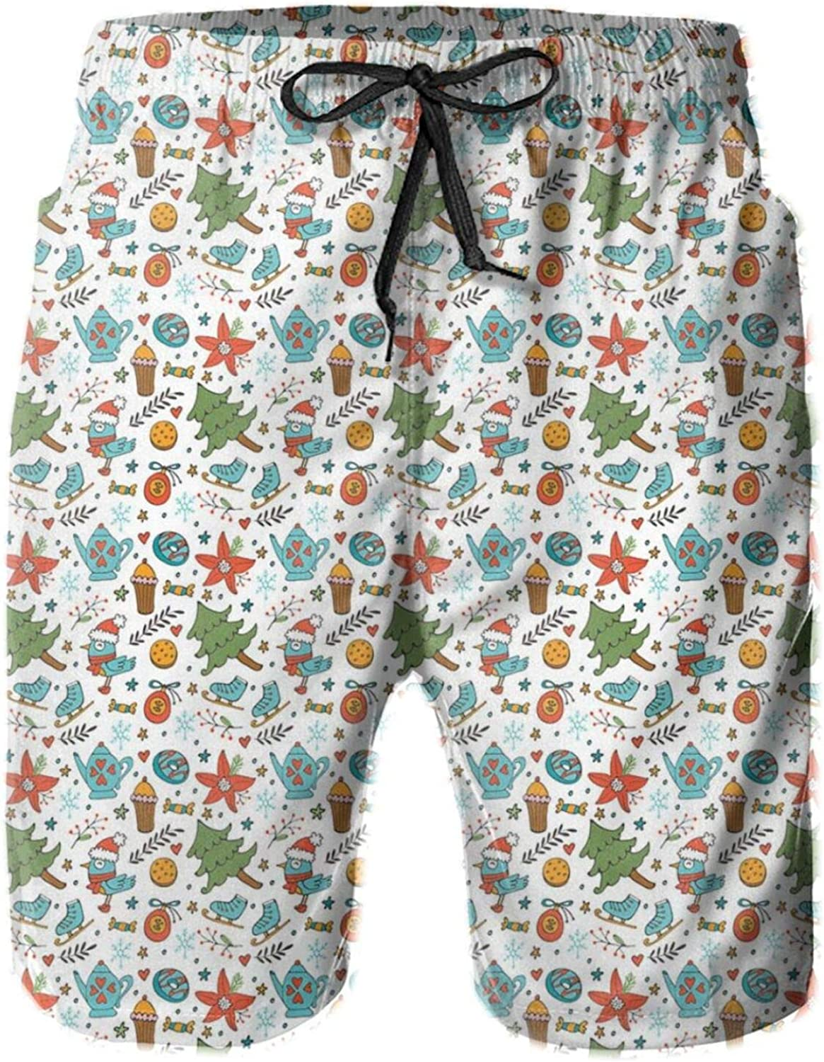 Birds with Boots Muffin and Skates Winter Xmas Season Style Elements Pattern Mens Swim Trucks Shorts with Mesh Lining,XXL