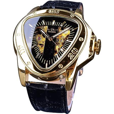 Winner Fashion Mechanical Wrist Watch Triangle Racing Dial Golden Skeleton Dial