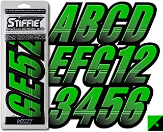 Stiffie Techtron Electric Green/Black 3 Alpha-Numeric Registration Identification Numbers Stickers Decals for Boats & Personal Watercraft