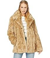 Faux Fur Notch-Collar Coat