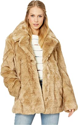 Faux Fur Notch-Collar Coat